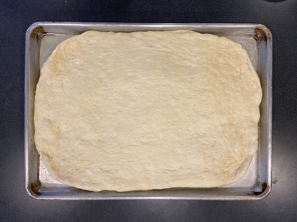 stretched focaccia dough