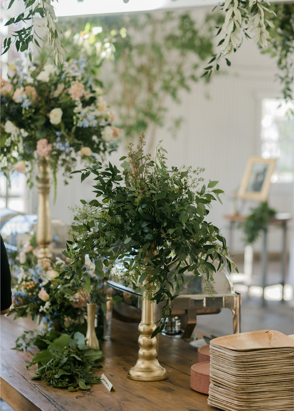 decorated wedding buffet with flowers