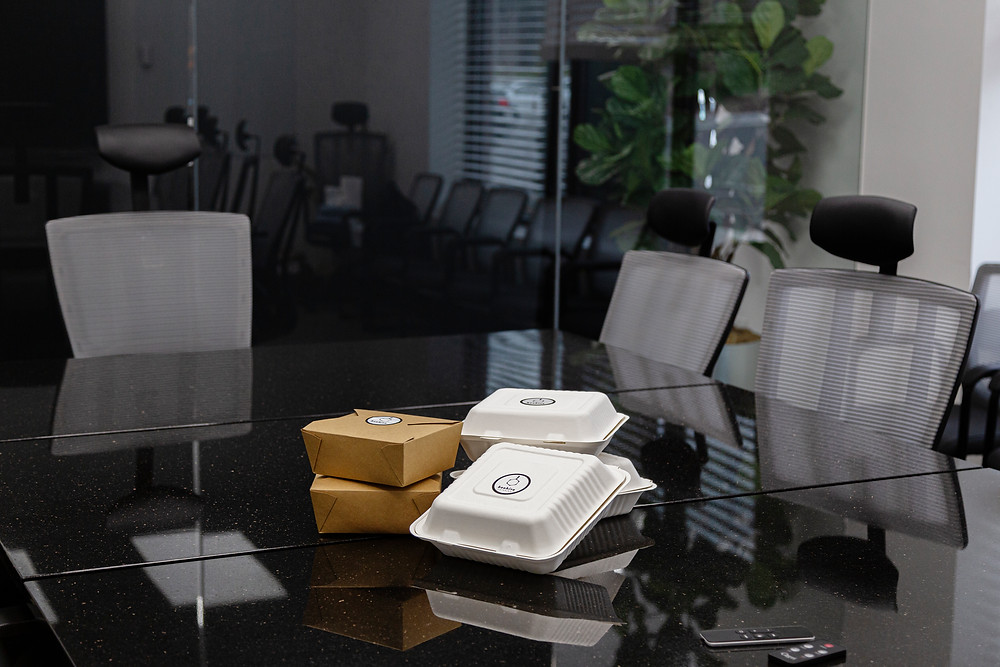 box lunches on conference room table