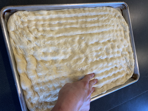 focaccia dough with dimples