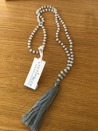 Suzie Blue Grey Crystal Bead Tassel Necklace