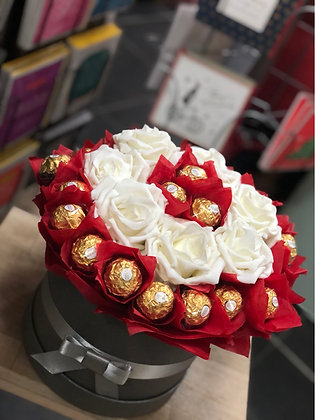 Chocolate & Artificial Rose Hat Box