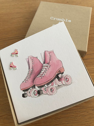 Crumble & Core Earring Card - Roller skates