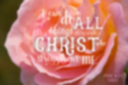 I can do all things through Christ who strengthens me Bible Card (Phil 4:13) with pretty rose picture.