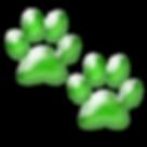 Free clipart 3D paw prints dog green.