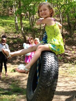 Tire swing fun!