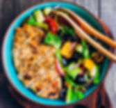 Homemade Organic Greek salad and roasted
