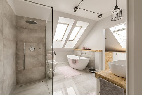 A new bathroom installation inside a house in Cardiff, South Wales