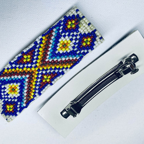 Beaded Barrette, Native American Indian Design By Sky - Sunset on the water.   1
