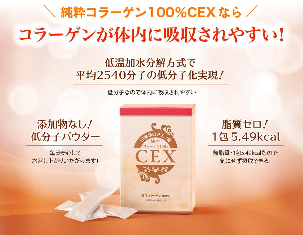 純粋コラーゲン100%CEXならコラーゲンが体内に吸収されやすい!