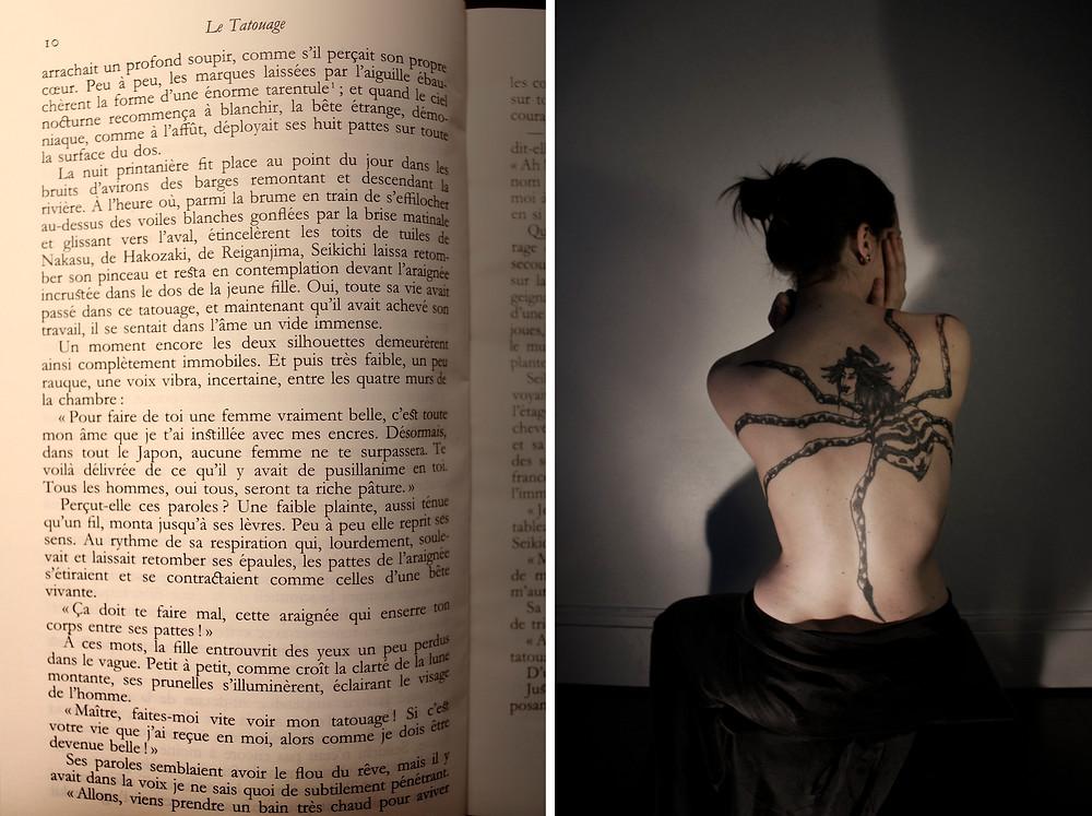 """Photographie du tatouage que j'ai réalisé inspiré par l'oeuvre """"Le Tatouage"""" de Tanizaki."""