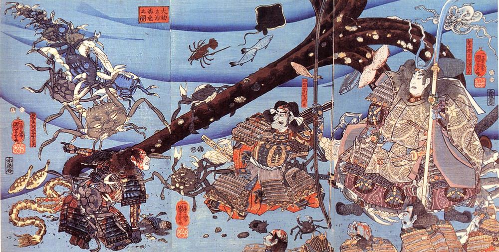 Crabes possédant les esprits des guerriers Taira. Utagawa Kuniyoshi sensei.
