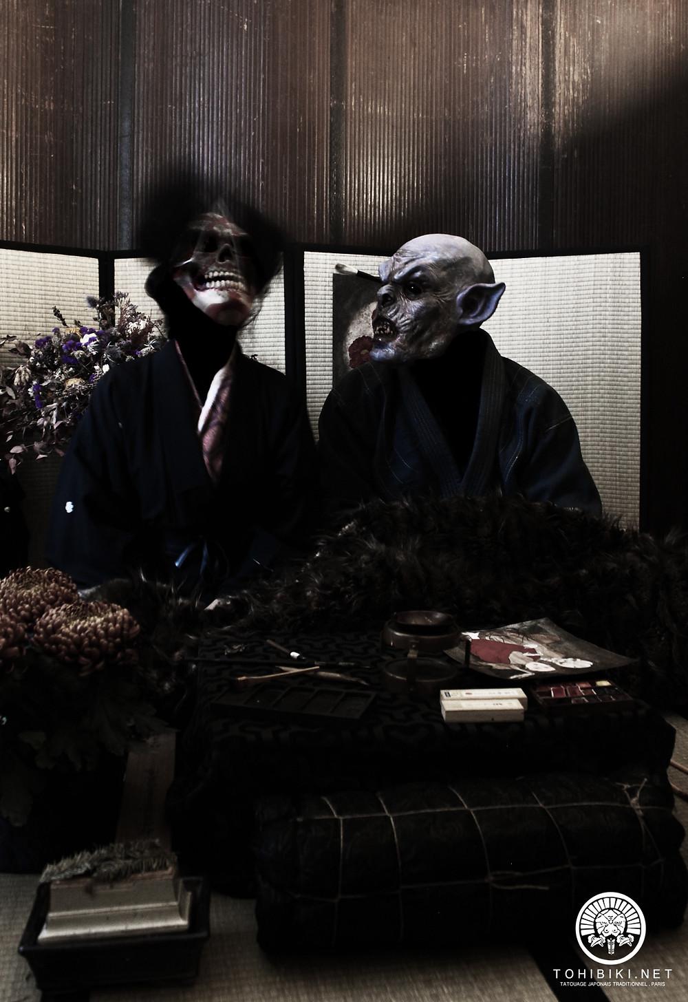 Tohibiki & Shakki, Demons de l'Irezumi. Tatouage japonais à Paris.