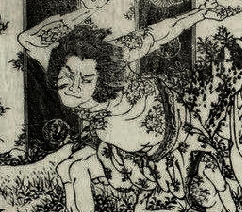 Katsushika Hokusai sensei. Suikoden Irezumi. Sakura.
