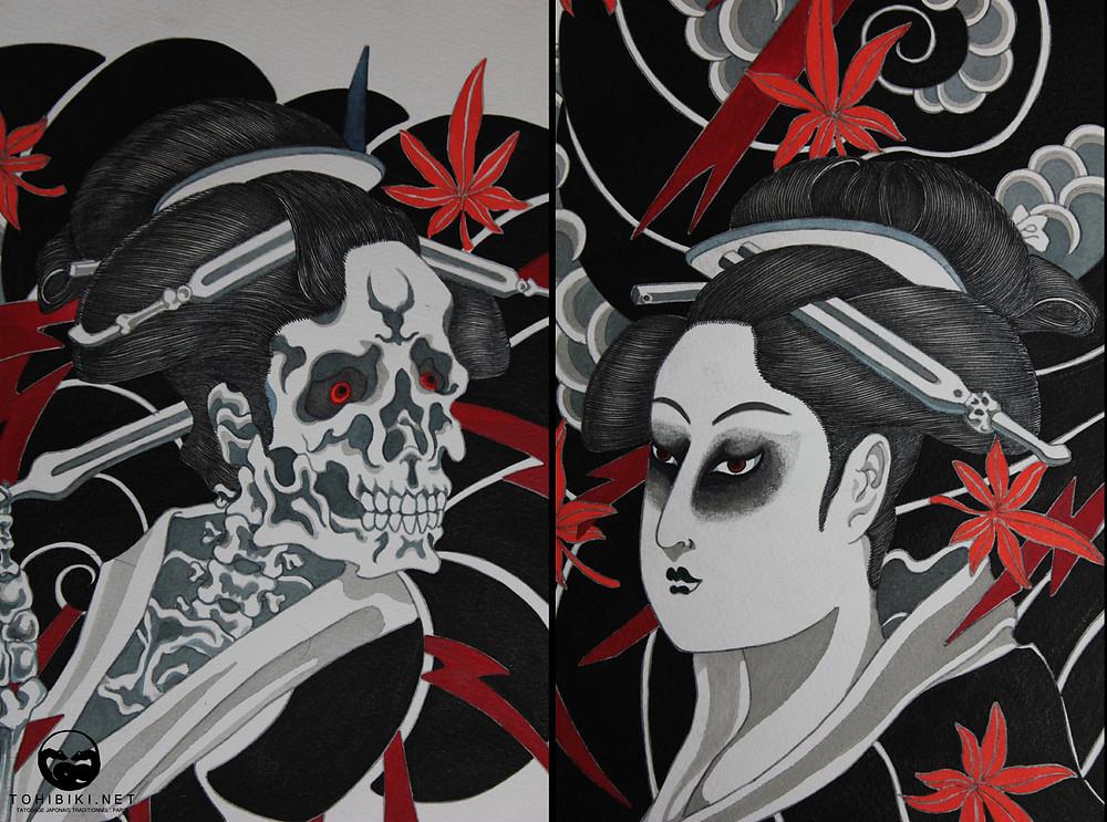 Fukai-Hikae Nagasode représentant le fantôme femme Otsuyu. 50,5x66cm