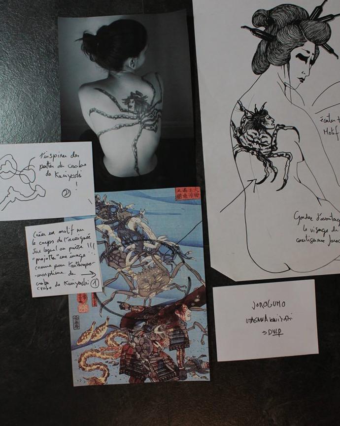 Etudes pour mon projet de tatouage, le motif du corps de mon araignée reprend partiellement le propos anthropomorphique du heikegani.