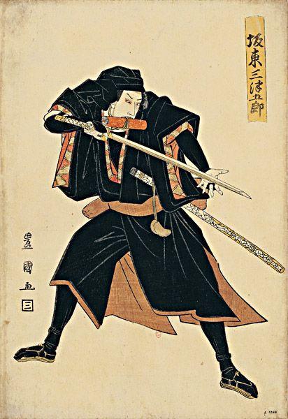 Bandô Mitsugoro II dans le rôle d'un ronin, Utagawa Toyokuni.
