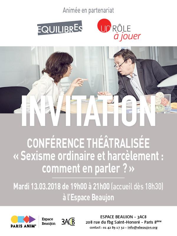Invitation Conférence théâtralisée Sexisme ordinaire et Harcèlement : comment on en parle ? Le 13 mars Inscription