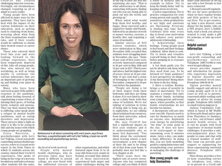 Helping Young People Mind their Mental Health- Galway Advertiser (March 2021)