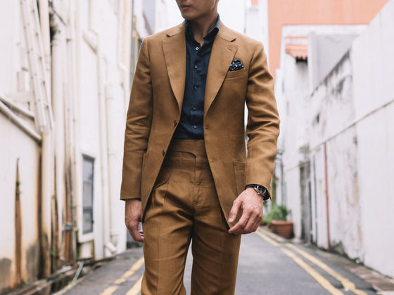 The Tobacco Wool Silk Linen Suit
