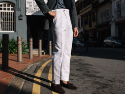 White Unibody Double D Ring Trousers