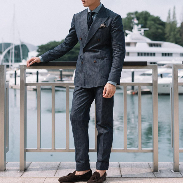 Denim Double Breasted Suit