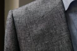 Peak Lapel on a Gray Wool Silk Linen Jacket