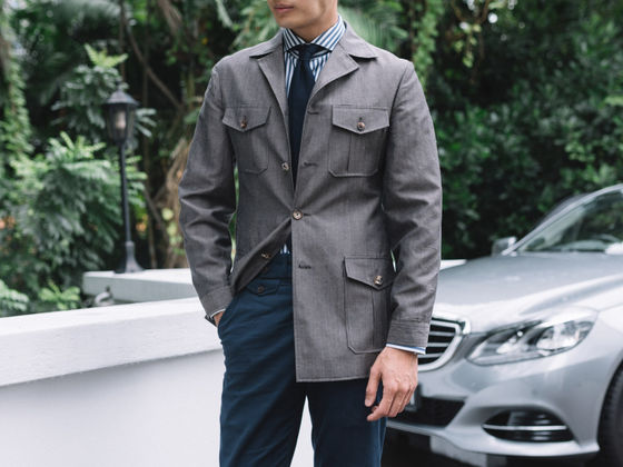 Gray Linen Safari Jacket