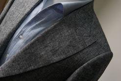One Piece Collar Shirt on a Gray Wool Silk Linen Jacket
