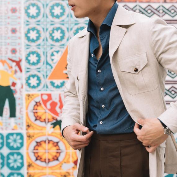 Cream Linen Safari Jacket