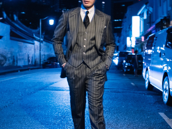 Charcoal Gray Rope Stripe Three Piece Suit