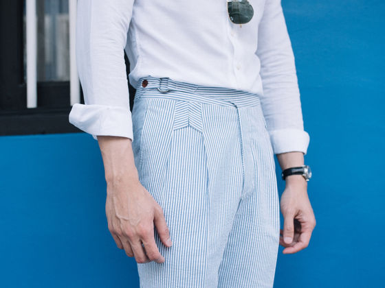 Seersucker Trousers with our Chevron Pleats
