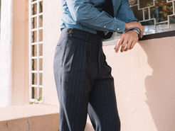 Pin Stripe Semi One Piece Super Extended Trousers