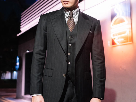 Wide Peak Lapel in a Black Zegna Three Piece Suit