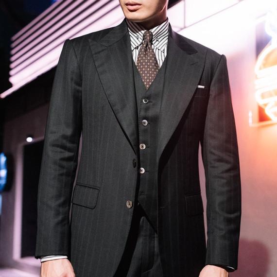 Three Piece Suit with Subtle Stripes