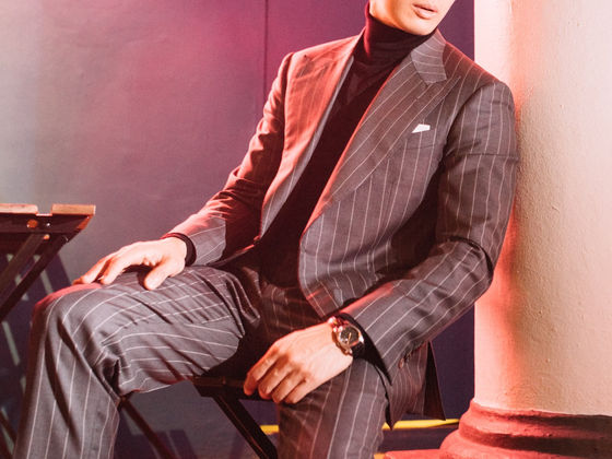 Black Turtle Neck in a Gray Chalk Stripe Three Piece Suit
