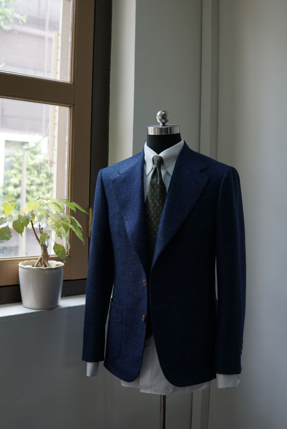 Navy Worsted Wool Sports Jacket