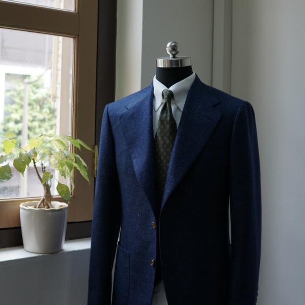 Blue Wool Silk Linen Sports Jacket