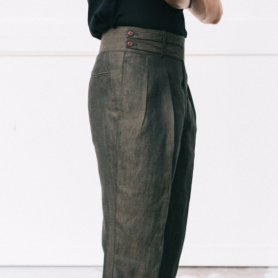 Double Monk Strap Trousers in Army Green Linen