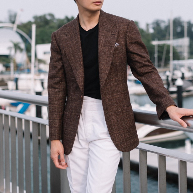 Brown Wool Silk Linen Sports Jacket with White Cotton Trousers