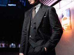 Wide Peak Lapel in a Black Zegna Three Piece Suit