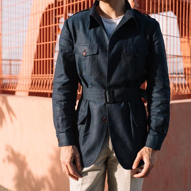 Navy Linen Safari Jacket