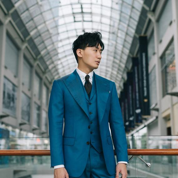 Yale Blue Herringbone Three Piece Suit