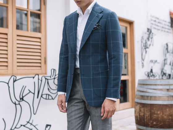 Window Pane Worsted Wool Sports Jacket
