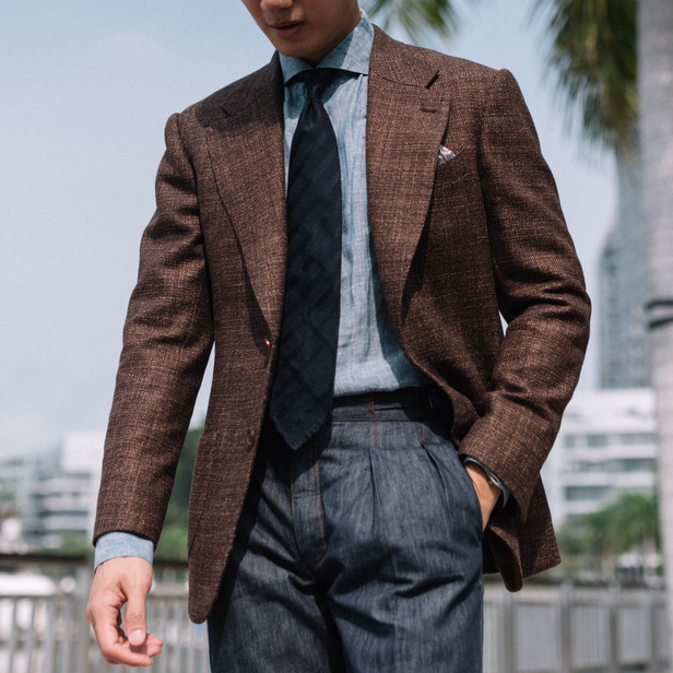 Brown Wool Silk Linen Sports Jacket with Denim Trousers