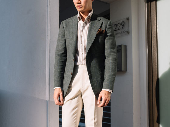 Green Wool Silk Linen Sports Jacket