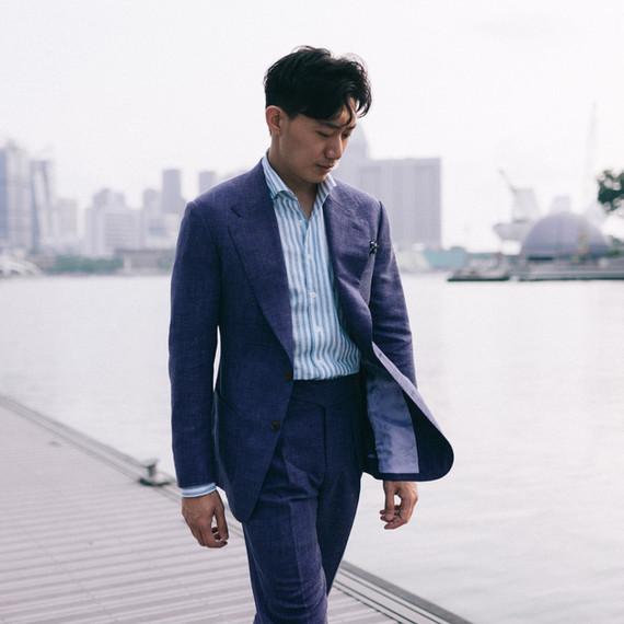 Woolk Silk Linen Indigo Suit
