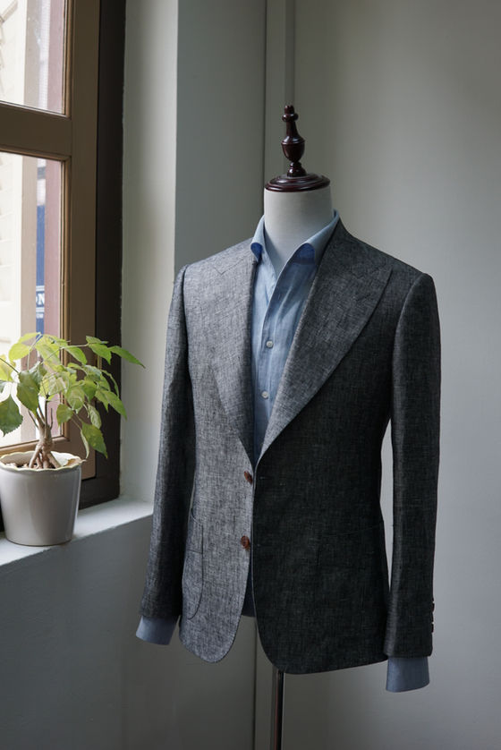 Peak Lapel Wool Silk Linen Jacket