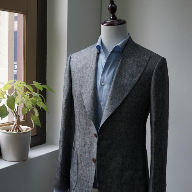 Gray Wool Silk Linen Sports Jacket