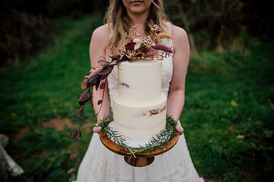Adventure Styled Shoot Outdoor Wedding Bride and Wedding Cake Dearest Love Photography